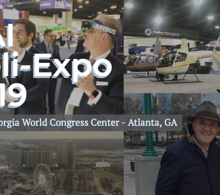 HAI heli-expo cover photo with Airbus technology, Atlanta cityscapes and Robinson Helicopters.