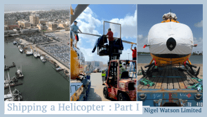 "Hero Image for article ""Shipping a Helicopter Part I"" - left: aerial view of Galveston port, middle: H145 blade removal with fork lift, right: front view of H145 on dolly to be shipping with covers on."