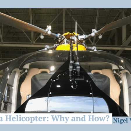"Close up of an H145 helicopter from the front showing main rotor, with title ""weighing a helicopter: why and how?"""