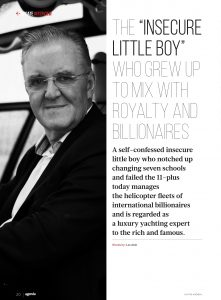 Page 1 of Interview with Nigel Watson in June Edition of Agenda Magazine, Isle of Man - showing photo of Nigel and Headline: The insecure little boy who grew u to mix with royalty and billionaires.